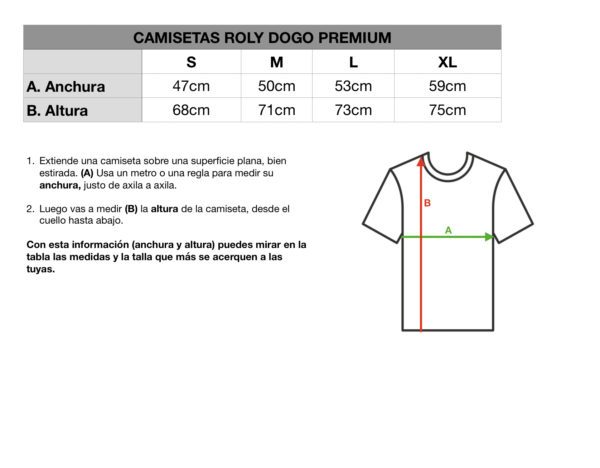 Tallas camiseta Roly Dogo